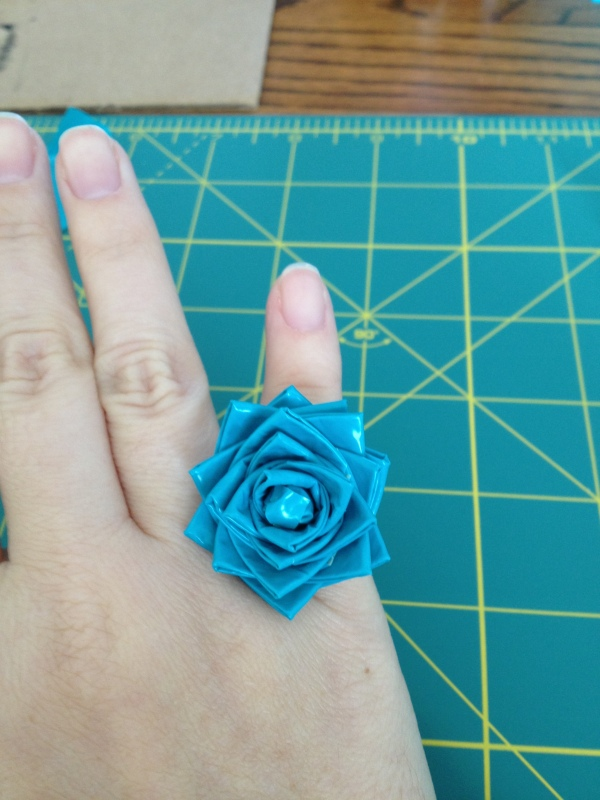 finished duct tape flower ring
