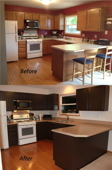 painting kitchen cabinets - before and after photos