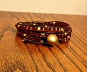 DIY wrap bracelet amber and gold