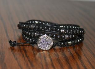 DIY wrap bracelet black and silver