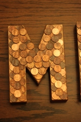 Penny Letters modge podge finish