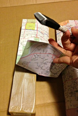 map covered letter gluing