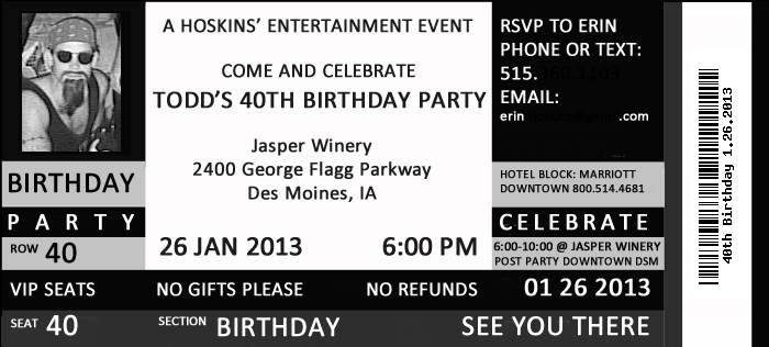 Doc564564 Concert Ticket Birthday Invitations Concert Ticket – Concert Ticket Birthday Invitations