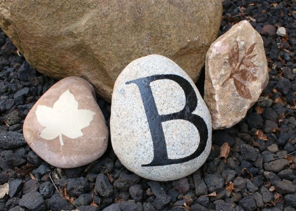 Stenciled Garden Rocks with Monogram