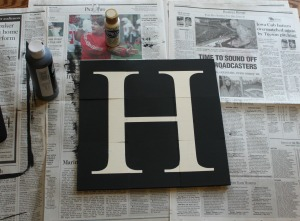 Wood Tile Letter - remove stencil
